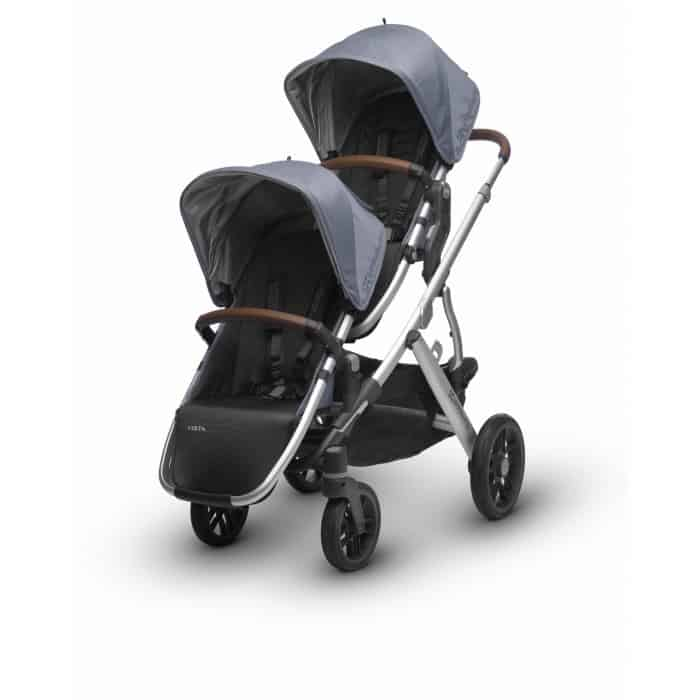 This stroller can accommodate a maximum of two children, but parents have the option to remove one seat for a single rider.