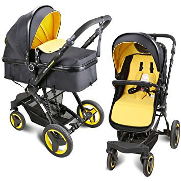 The Cynebaby stroller combines features from traditional and jogger strollers.