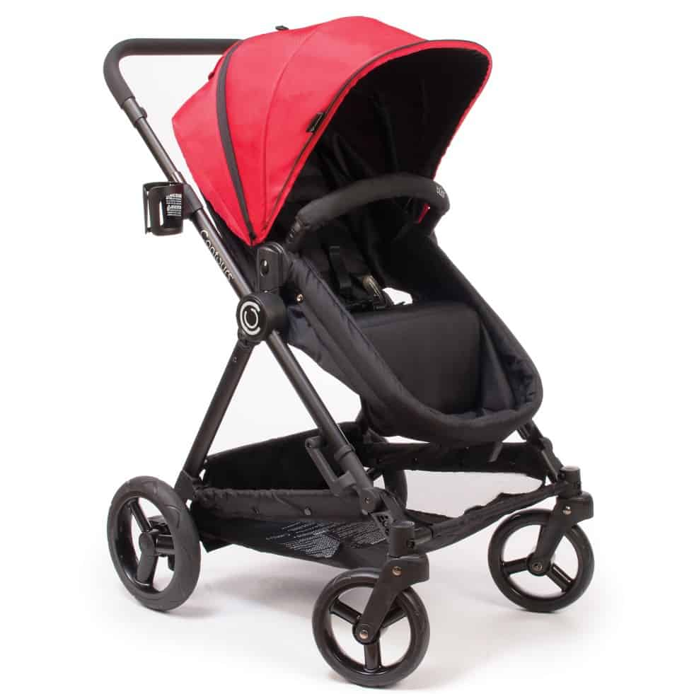 This 4-in-1 stroller comes with a removable infant carrier for greater versatility.