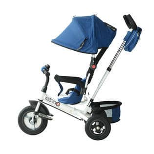 The tricycle features durable wheels perfect for trips to the park.