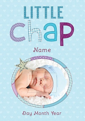 This card welcomes the birth of a baby boy with open arms
