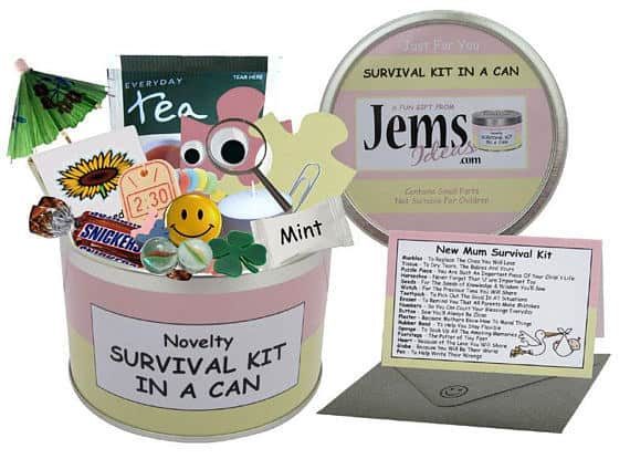 Save the new mother with some personalized survival kits.