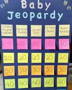 Baby Jeopardy is a fun and versatile trivia game for guests to play.