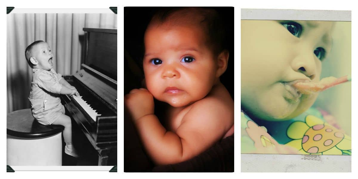 This fun game shows the oh-so-cute pictures of family members of baby.