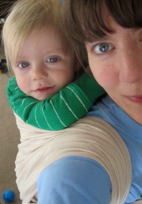 Use a baby carrier when carrying your baby and stroller up the stairs (Source: Becoming Mamas)
